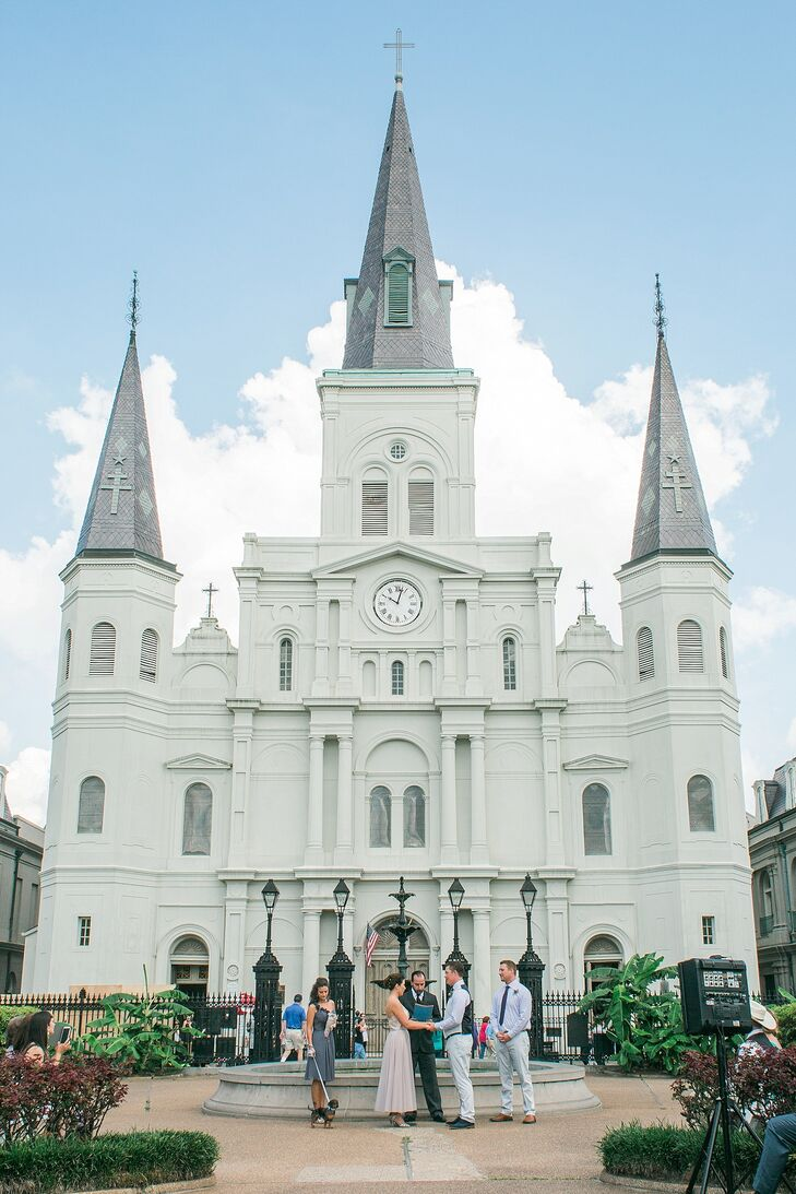 """""""We love to travel and always knew that we wanted a small destination wedding with our closest family and friends,"""" Amber says. New Orleans was quickly chosen. They had no problem incorporating the city and even had their ceremony in Jackson Square. Instead of adding decor, they let St. Louis Cathedral be their backdrop."""
