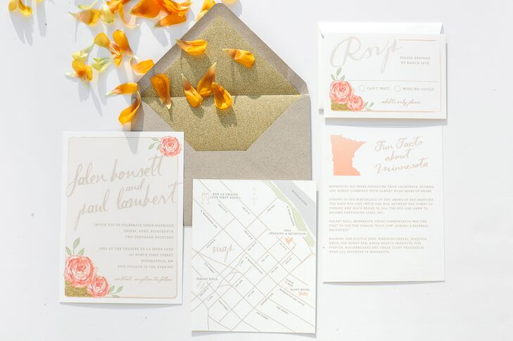 "Ginger P. Designs created this romantic, pink and white invitation suite for the to-be-weds. ""Our save-the-dates were very fun and different, while we stuck with a romantic, blush and gold color scheme for the invitations,"" the bride says."