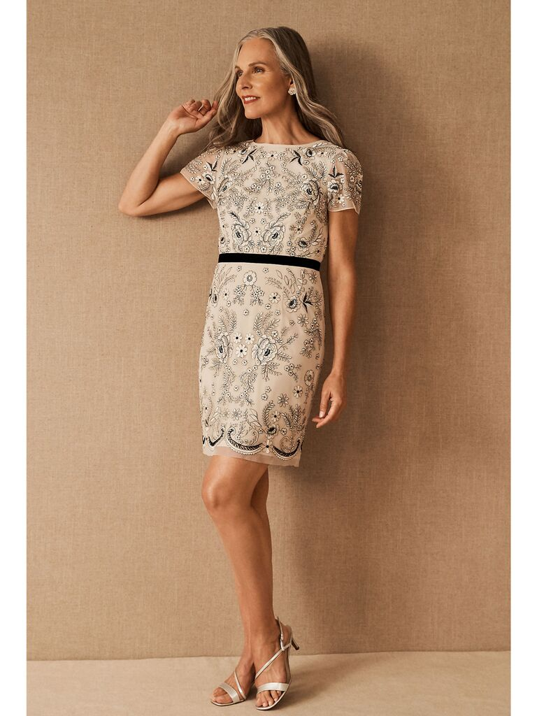 Cream mini dress with black and metallic beading and embroidery