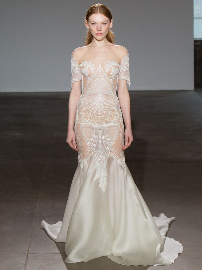 Adam Zohar Spring 2019 Collection off-the-shoulder sheer mermaid wedding dress