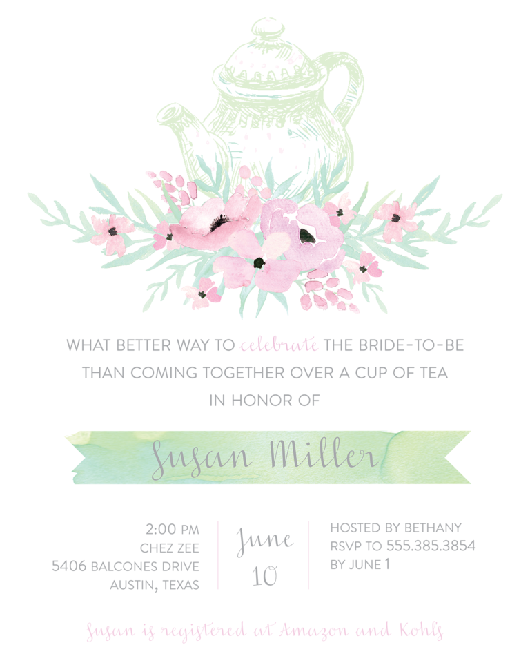 tea party bridal shower invitation wording