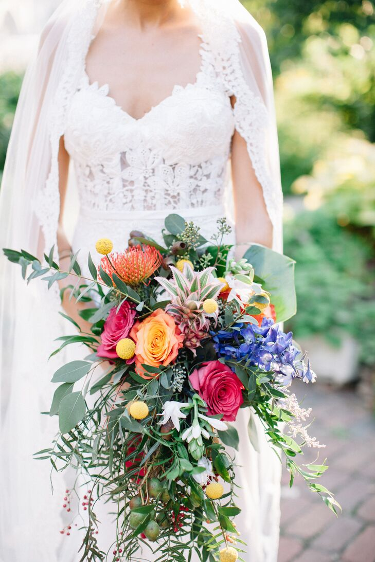 Colorful Bouquet Incorporating Both Florals and Fruit