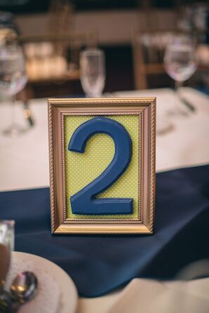 Yellow and Blue Framed Table Number