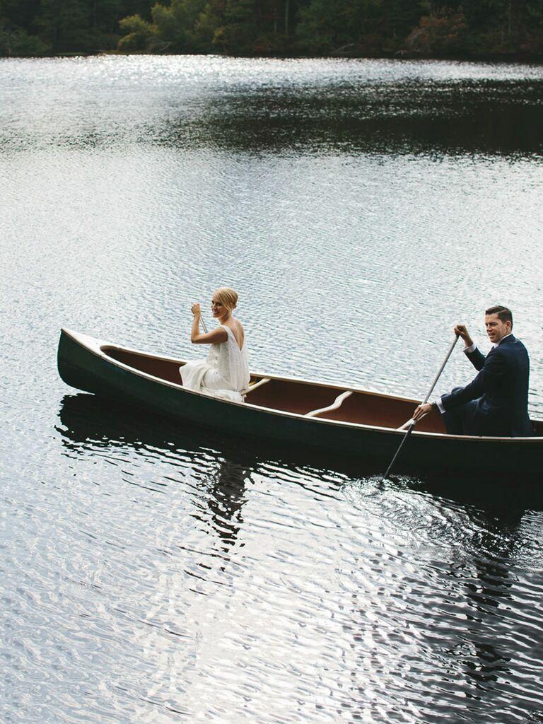 Couple exiting on a Canoe