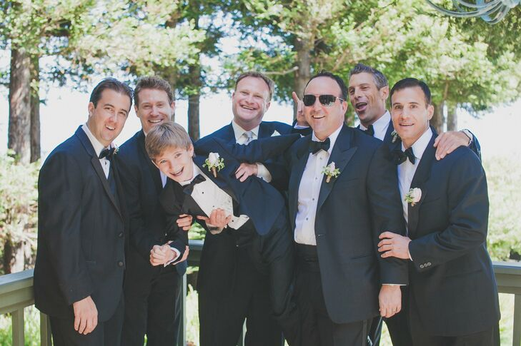 The groomsmen kept their attire classic, dressing up in traditional tuxedos.