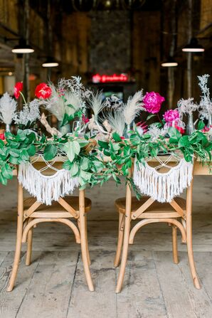 Rustic Sweetheart Chairs with Greenery Garland and Macramé Swags