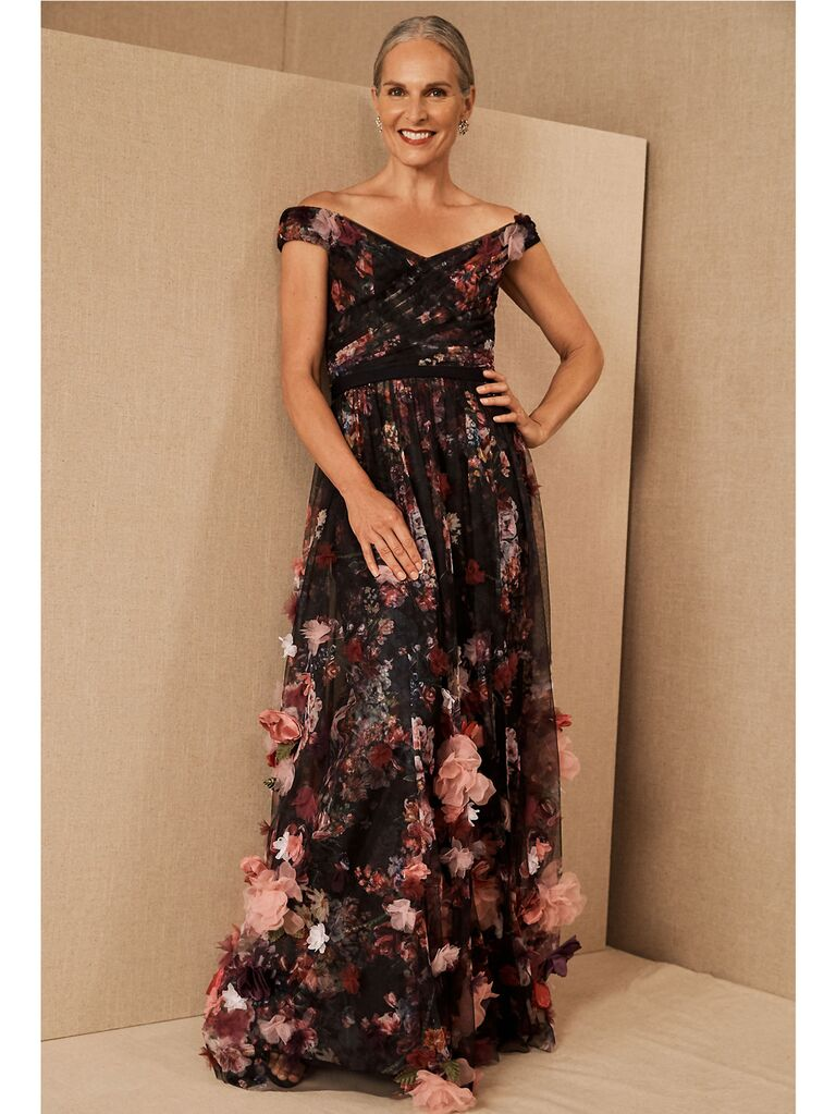 Black off-the-shoulder gown with pink 3D applique flowers
