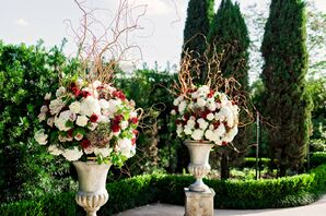 Tall Flower Arrangements with Red, Blush and White Roses