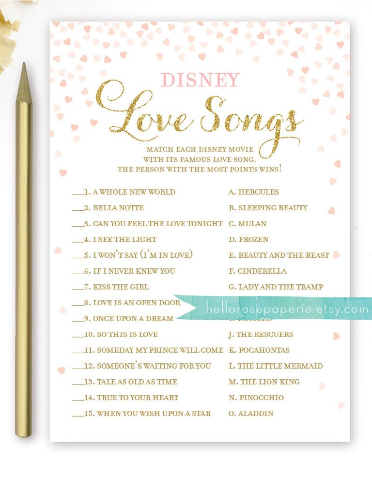 disney love song quiz disney love songs bridal shower game