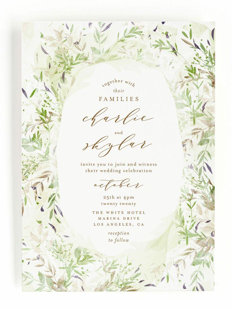 Minted whimsical greenery spring wedding invitation