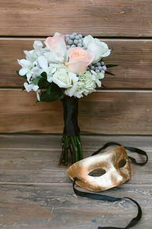 Pale Bridesmaid Bouquet with DIY Gold Leaf Mask