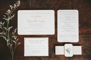 Formal Wedding Invitations with Gold Accents