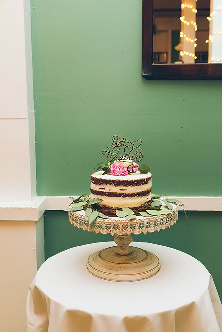 Modern Single-Tier Semi-Naked Cake on Vintage Stand