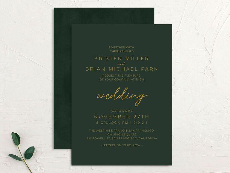 Green and gold fall wedding invitation