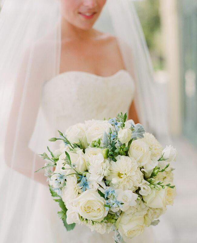 Blue and Ivory Wedding Bouquet   Jen Fariello Photography   Blog.TheKnot.com