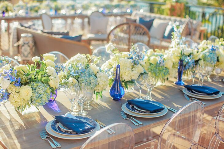Blue and White Hydrangeas, Blue Vases and Blue Linens on Preppy Table