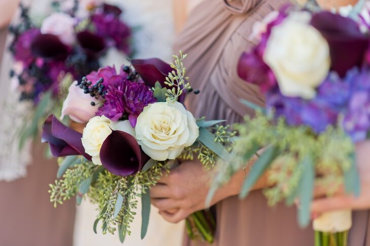 Purple and White Bouquet with Roses and Calla Lilies