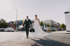 Bride and Groom Walking in Brooklyn, New York