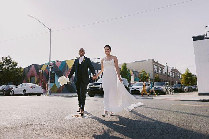 Bride and Groom Walking in Brooklyn, New York
