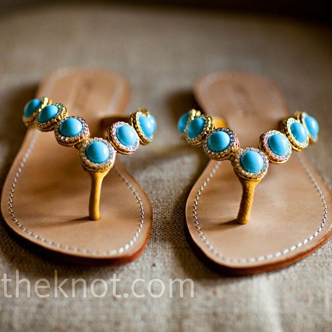 Turquoise and gold sandals accented Devon's natural look.