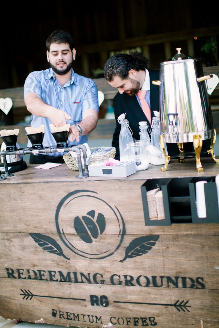 """A brewery called Redeeming Grounds set up a stand to serve coffee at cocktail hour. This non-profit organization incentivizes farmers in Columbia to grow coffee beans instead of cocaine. """"The coffee was so great and we loved sharing such an incredible cause with our guests!"""" Bethany says."""
