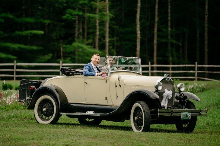 Vintage Getaway Car at Wedding in Stowe, Vermont