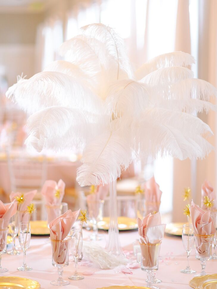 1920s Inspired White Feather Centerpieces