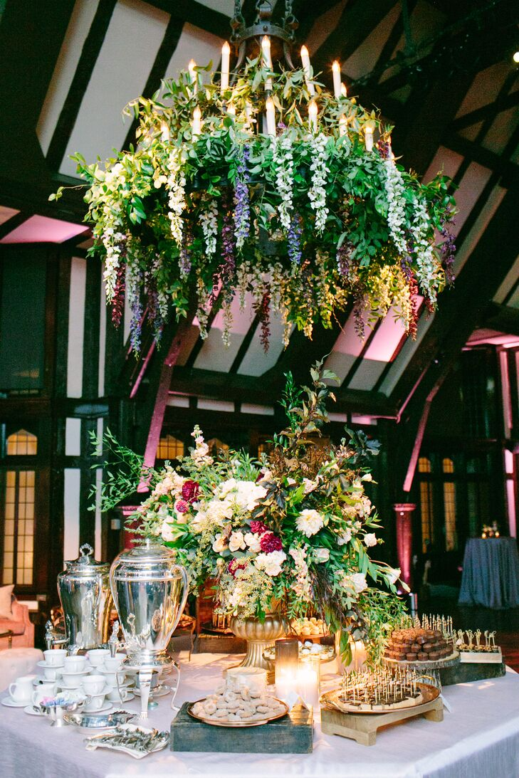 Luxury Dessert Table with Oversized Hanging Greenery Chandelier
