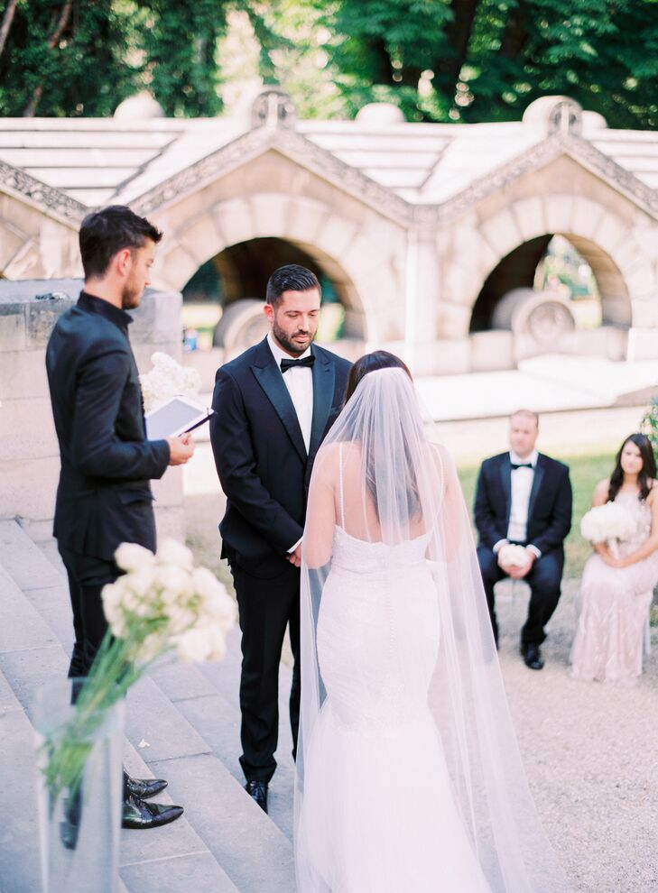 Morgan and Kevin said their vows on the steps of Chapelle Expiatoire, a nearly 200-year-old chapel, surrounded by tall glass vases filled with crisp white hydrangeas and roses.