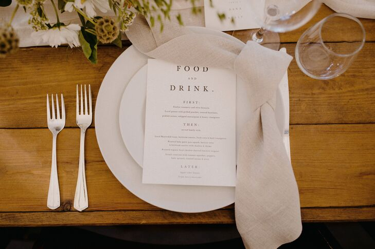 Farm Table Place Setting with Simple Menu