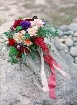 Purple, Pink, Red Bridal Bouquet of Wildflowers