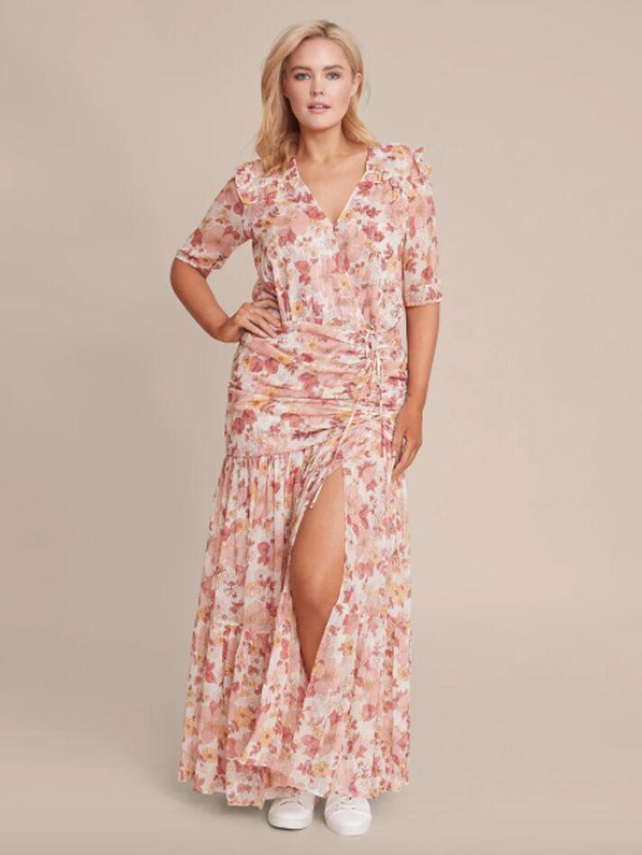 Plus size pink floral maxi dress
