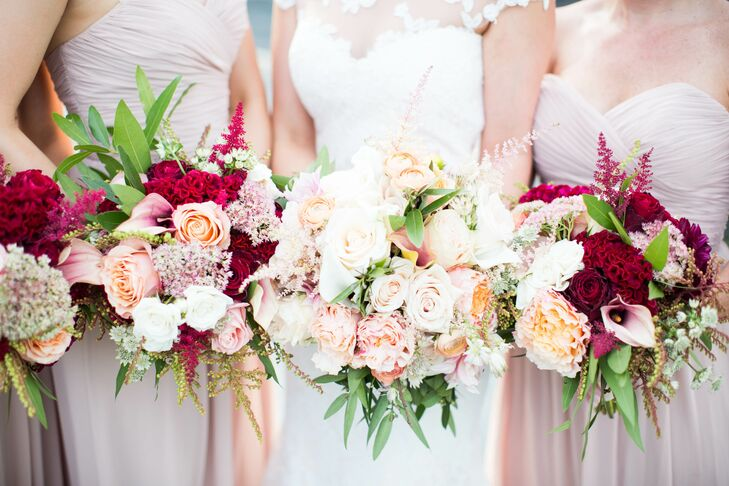Romantic Burgundy and Blush Bouquets