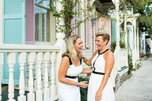 Same-Sex Couple with Black-and-White Dresses