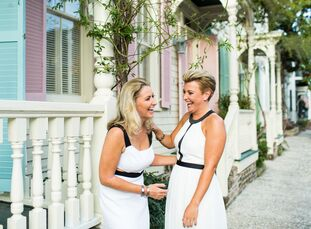 Zoe	Guilford (left) and Gemma Wasley visited Savannah on a road trip, and they instantly felt an affinity for it. When they got engaged shortly after,