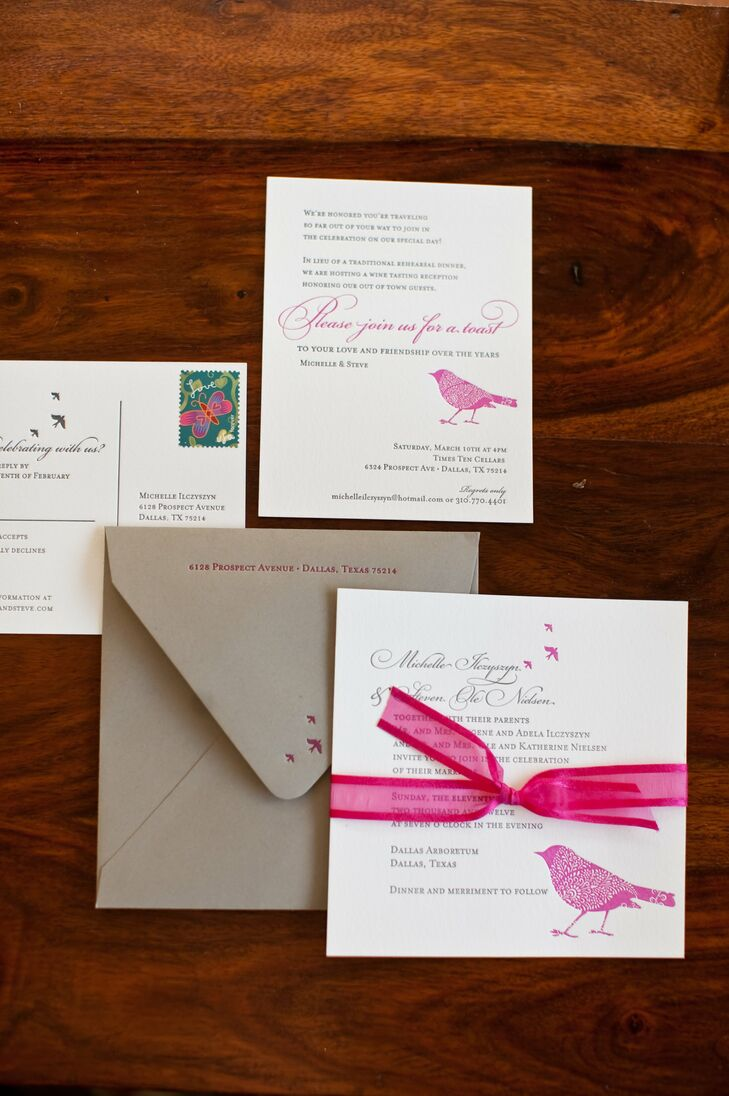 A pink-paisley bird gave the invites a charming touch. The couple skipped the extra envelopes and opted for response postcards to reduce their paper use.
