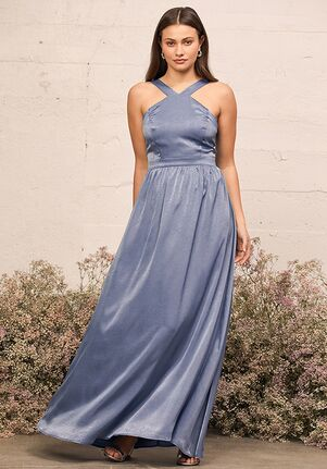 Lulus Air of Romance Dusty Blue Satin Maxi Dress Halter Bridesmaid Dress