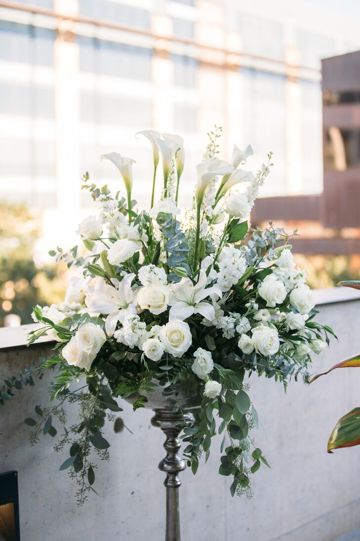 Tall Aisle Decoration with White Orchids, Peonies, Roses and Greenery