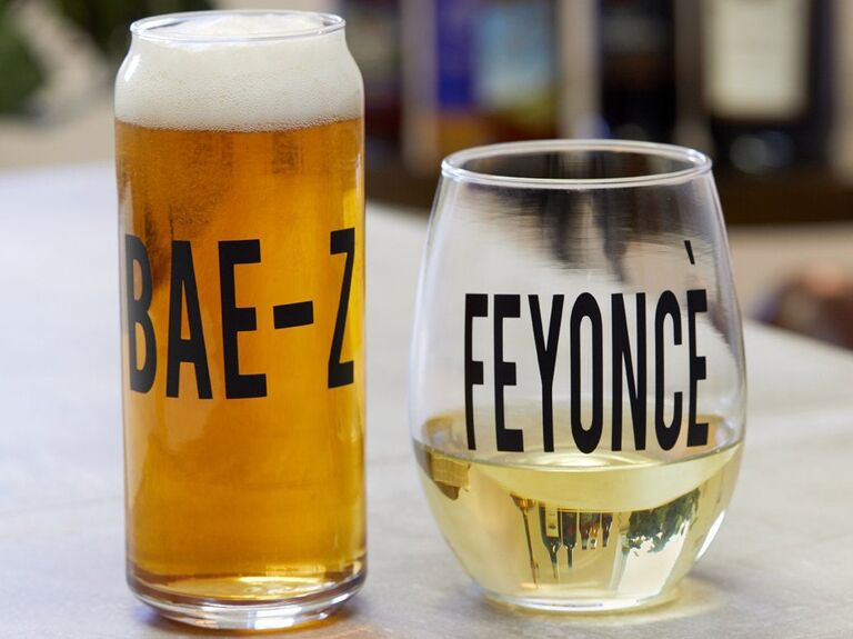 Bae-Z and Feyonce glassware engagement gift for couple