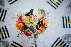 Flower Centerpiece, Heart-Shaped Table Number