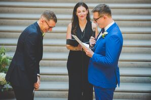 Grooms in Colorful Suits Exchanging Vows