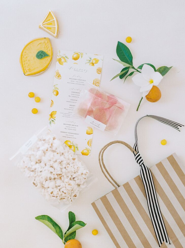 Whimsical Welcome Bags with Treats and Lemon-Themed Itinerary