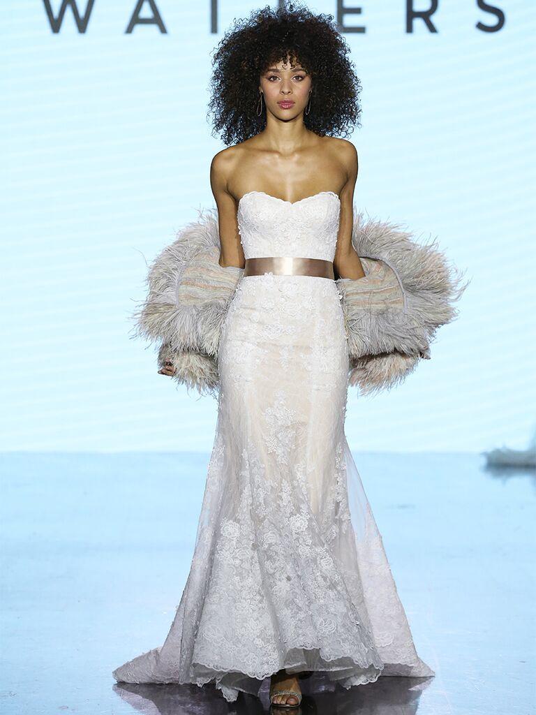 Watters wedding dress strapless lace trumpet