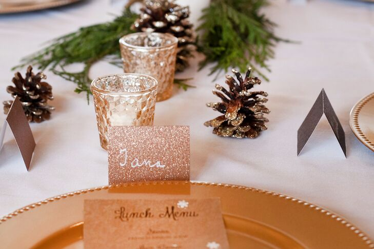 The escort cards were glittery gold to add a little glamour to the reception.