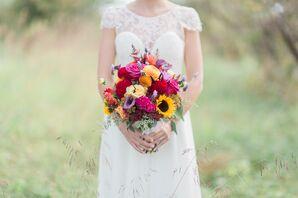 Vibrant Coxcomb, Calla Lily and Sunflower Boquet