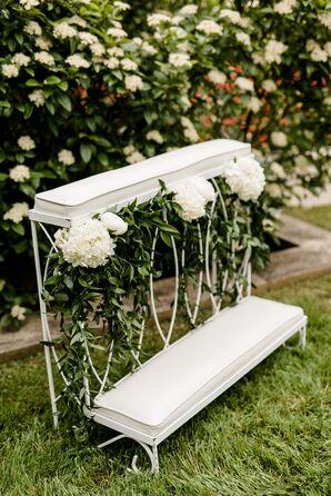 Vintage Ceremony Kneeler with White Hydrangeas