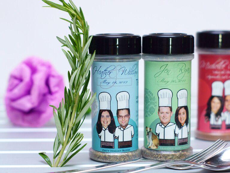 Custom spice jars unique wedding favors