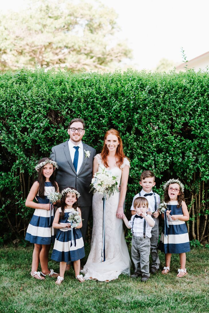 Preppy Navy Striped Flower Girl Dresses
