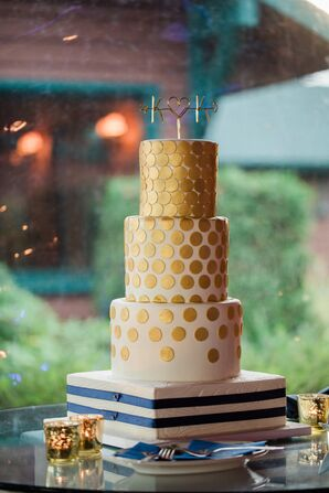 Gold Polka Dot Wedding Cake with Striped Square Base