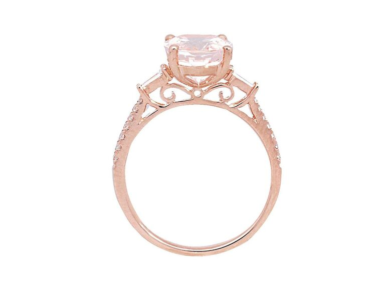 Helzberg Diamonds 14K rose gold ring with oval morganite and diamond baguettes